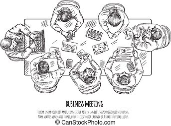 skitse, møde, firma