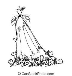 skitse, ornamentere, konstruktion, blomstrede, brude klæd, din