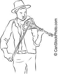 skitse, person, violin