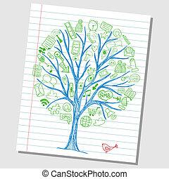 skitse, stram, omkring, iconerne, medier, -, træ, hånd, sociale, doodles