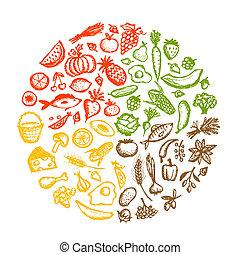skitse, sund mad, baggrund, konstruktion, din
