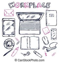 skitse, top udsigt, komposition, arbejdspladsen