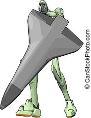 skjold, illustration, robot, baggrund., vektor, grønnes hvide