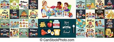 skole, eleverne, farverig, sæt, frokost middag, plakater, interior, feltflaske, komposition