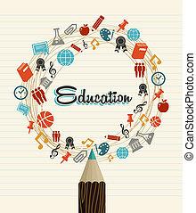 skole, iconerne, globale, tilbage, undervisning, pencil.