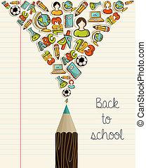 skole, undervisning, pencil., tilbage, iconerne