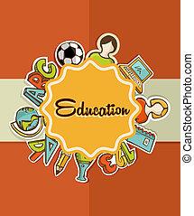 skole, undervisning, tilbage, icons., etikette
