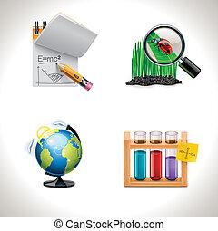 skole, vektor, 3, icons., afdelingen