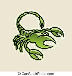 skorpion, illustration, vektor, grønne, blanke, ikon