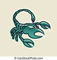 skorpion, illustration, vektor, grønne, blanke, ikon, persisk