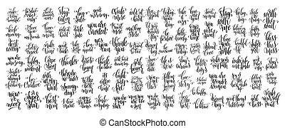 skriv, mega, hånd, motivational, sæt, citere, tekstning, 100