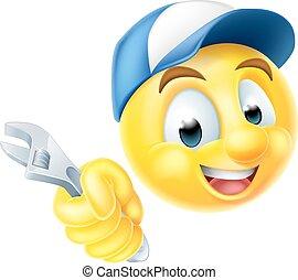 skruenøgl, mekaniker, emoji, blikkenslager, emoticon