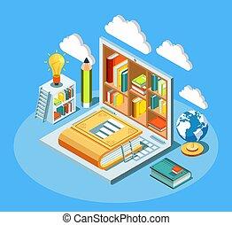 sky, laptop, komposition, isometric, undervisning, books., elektroniske, begreb, computing, online bibliotek, vektor, illustration