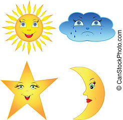 sky, sol, komisk, måne, stjerne