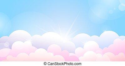 skyer, blå, solopgang, rose, himmel