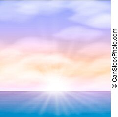 skyer, sol, dunede, klar, hav, solopgang