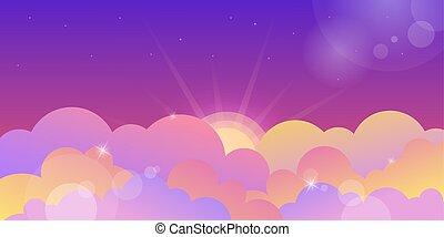 skyer, violet, solnedgang, farve, himmel