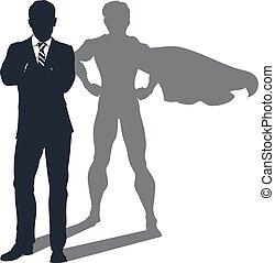 skygge, forretningsmand, superhero