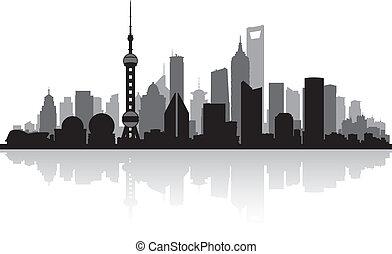 skyline city, shanghai, kina, silhuet
