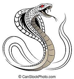 slange, vektor, brilleslange