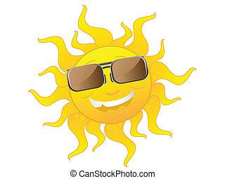 slide, cute, sunglasses, cartoon, sol