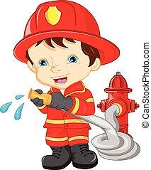 slide, dreng, firefighter, unge