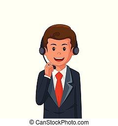 slide, forretningsmand, illustration, headset
