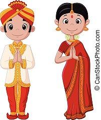 slide, par, traditionelle, indisk kostume, cartoon