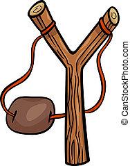 slingshot, kunst, cartoon, illustration, hæfte