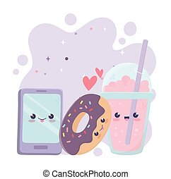 smartphone, cartoon, karakter, kawaii, donut