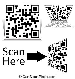 smartphone, sæt, barcode