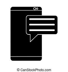 smartphone, silhuet, kommunikation, medier, boble, tal