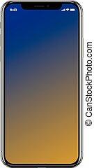 smartphone, telefon, ambulant, varemærke, realistiske, sort, nye