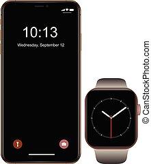 smartphone, telefon, ambulant, varemærke, smartwatch, realistiske, sort, nye