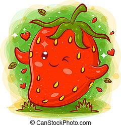 smil, cute, cartoon, kawaii, jordbær, karakter