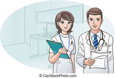 smil, tillidsfuld, doktor, sygeplejerske