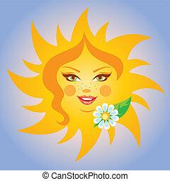 smil, vektor, illustration, sol