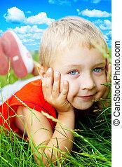 smile, glade, græs, cute, barn, forår