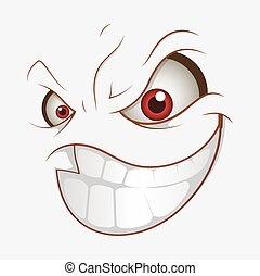 smile, ond., udtryk, cartoon, onde