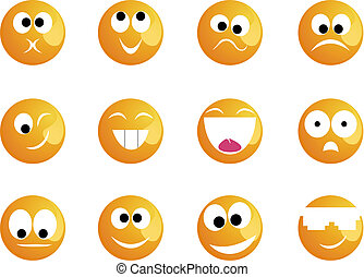 smiler, forskellige, humøret, farve, gul, muntre