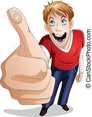 smiler, guy, tommelfingre oppe