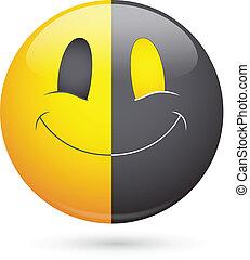 smiley ansigt, vektor, sort, halve, glade