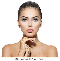 smuk kvinde, hende, skønhed, zeseed, røre, portrait., kurbad