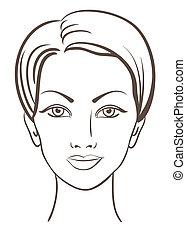 smuk kvinde, vektor, illustration, zeseed