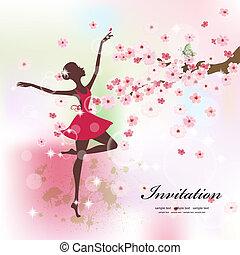 smukke, ballerina, blomster
