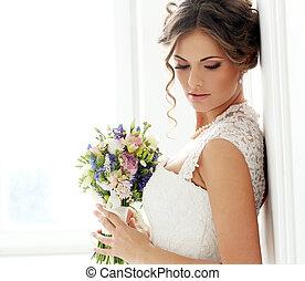 smukke, brud, wedding.