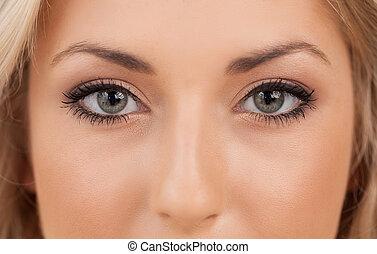 smukke, close-up, kvinde kigge, kamera, eyes.