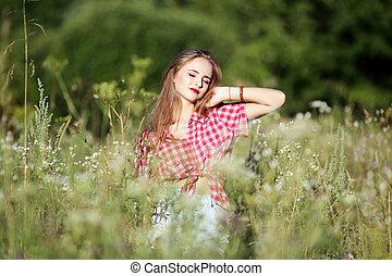 smukke, felt, kvinde