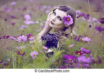 smukke, felt, kvinde, blomst