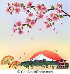 smukke, firmanavnet, baggrund, blomstre, kirsebær, -, japansk, illustration, vektor, sakura, vector., træ., landskab